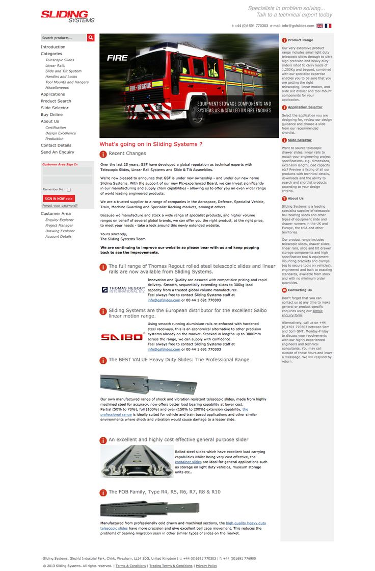 Website Design and Program for the good people at Sliding Systems  Telescopic slides, drawer slides, linear motion components, slide and tilt or tip-down components and tool mounting products for a wide variety of fire, defence, and other Vehicle applications - Sliding Systems Ltd  #WebDesign #SourceDesign #Shrewsbury
