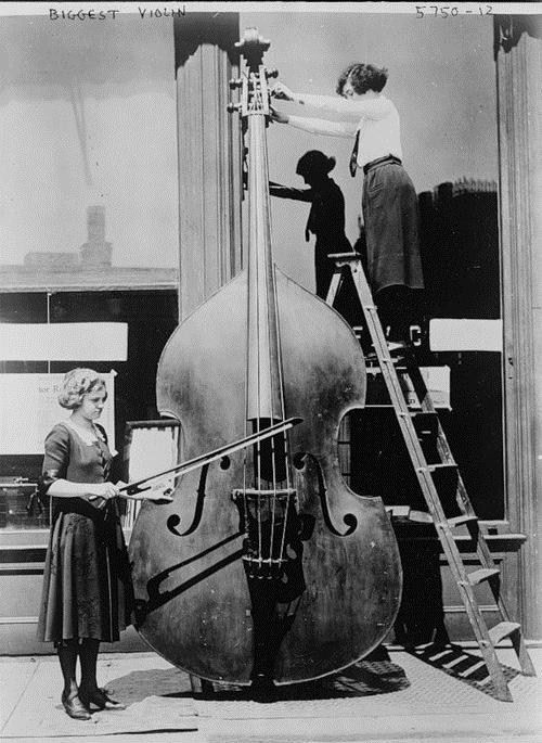 "The octobass is an extremely large bowed string instrument constructed about 1850 in Paris by the French luthier Jean Baptiste Vuillaume (1798-1875). It has four strings and is essentially a larger version of the double bass. The instrument was, in fact, so large that it took two musicians to play: one to bow and the other to control the ""fingering"", and was consequently never produced on a large scale or used much by composers."