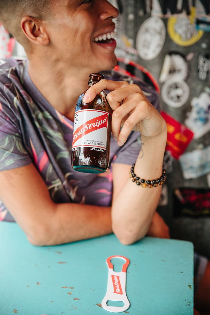 Grab a seat and take a sip. Authentic Jamaican, Red Stripe!