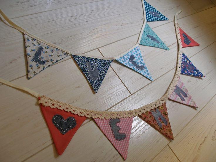 banderines de tela con nombres- decoración habitación niños