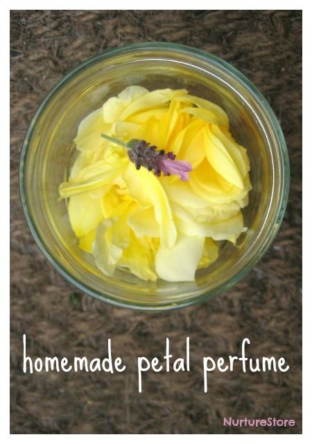 Petal Perfume. Select a flower with a scent that you like. Pull off all the petals, placing them in a glass jar. Pour on some just-boiled water and leave the petals to steep for a few hours and until the water takes the scent. Strain off the water to use as your perfume and discard the petals.