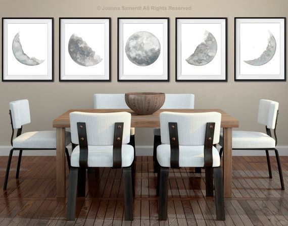 Moon Phases 5 Watercolor Prints Set, Full Moon Painting, Grey Lunar Phase Print, Phase of the Moon Poster, Grey and Blue Home Decor