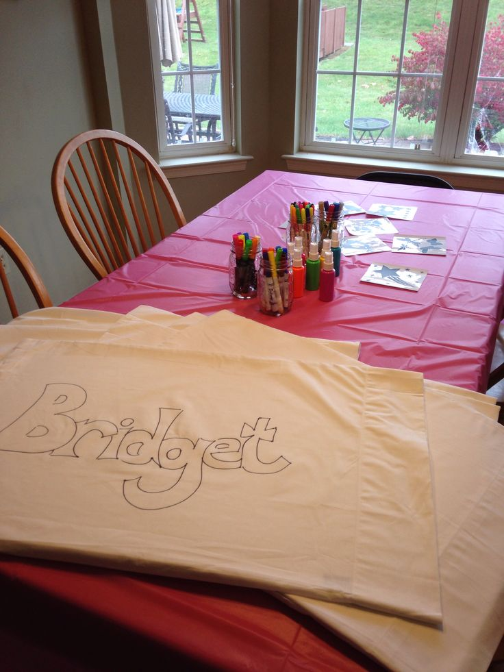 Slumber party crafts. Pillow case design