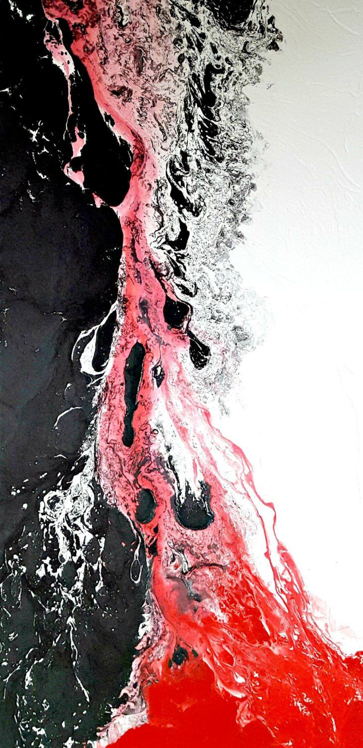 White Black And Red Painting 24x48 Abstract Painting Acrylic Etsy Red Painting Abstract Large Canvas Wall Art