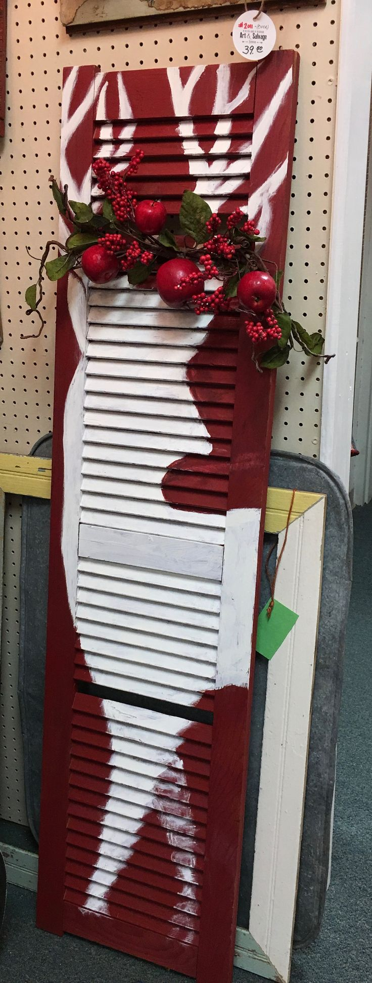 Hand-painted window shutter for Christmas decor at Homestead Handcrafts, San Antonio, Texas.