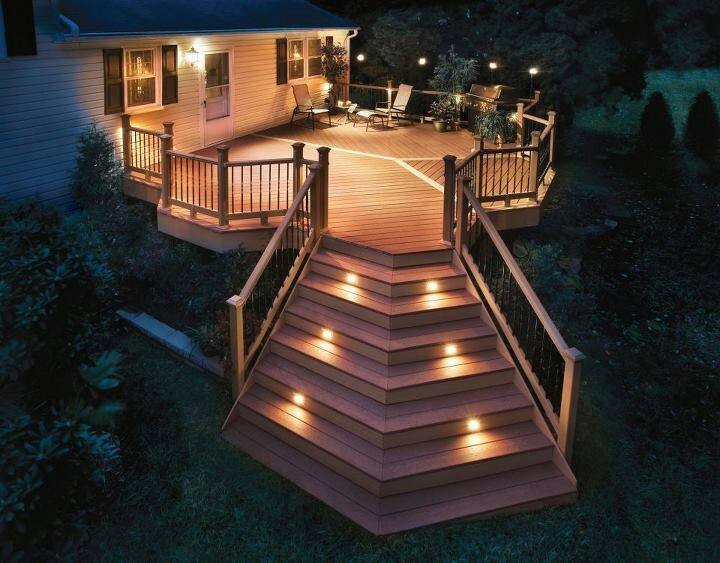 Awesome lighted steps (not angled in our case though... Unless we did it on the existing side steps and added the angle!?)