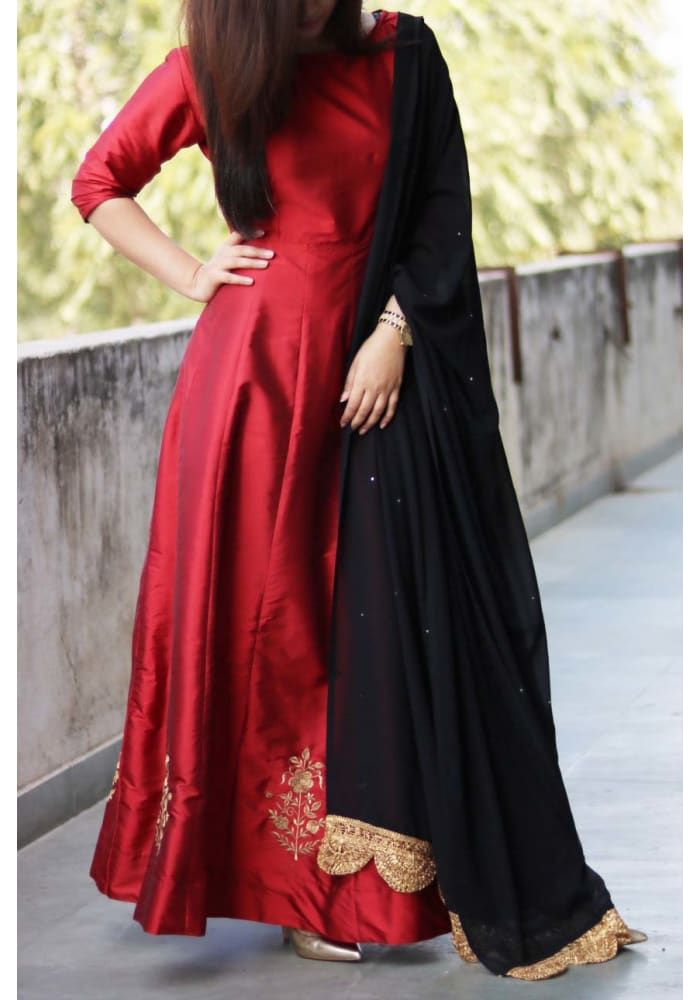 Red Black Embroidered Anarkali