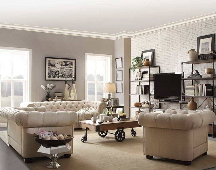 Chesterfield Living Room Set Tufted Tuxedo Sofa Loveseat Armchair In Cream Beige Linen