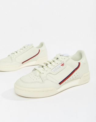edf4e0808bb81d adidas Originals Continental 80 s Sneakers In Off White And Red ...