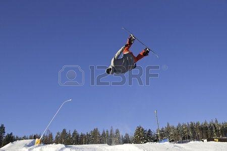 Snowboardist flying