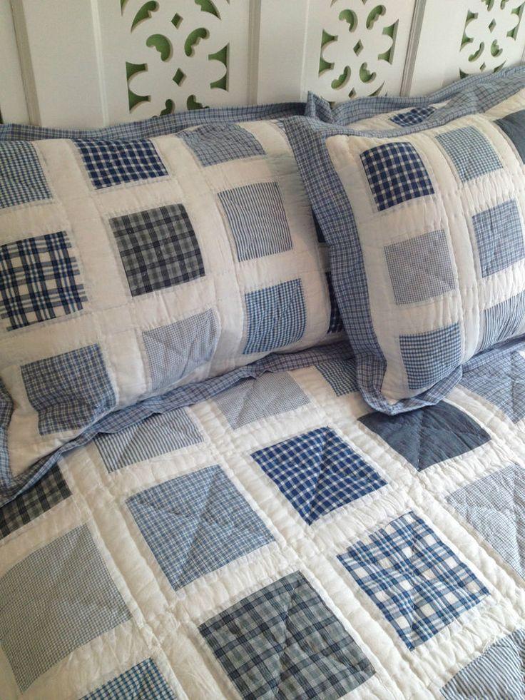3 Pce Sagar Coastal Beach Check King Queen Size Bed Coverlet Bedspread Set