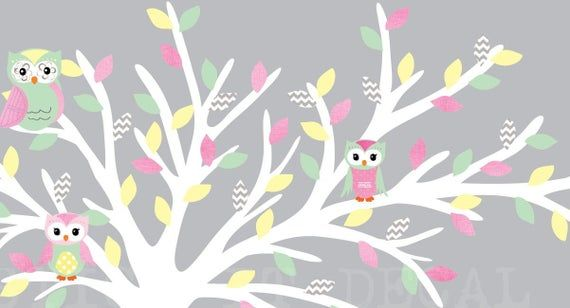 White Blowing Tree Wall Decal, Girl Room Owl Tree Wall Decal, Girl Room Wall Decal, Owl Wall Decal, Small Blowing Tree, Pastel Rush Design – Products
