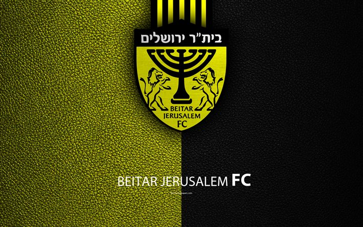 Download wallpapers Beitar Jerusalem FC, 4k, football, logo, emblem, leather texture, Israeli football club, Ligat HaAl, Jerusalem, Israel, Israeli Premier League