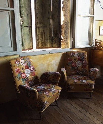 Floral chairs, beckon me to come