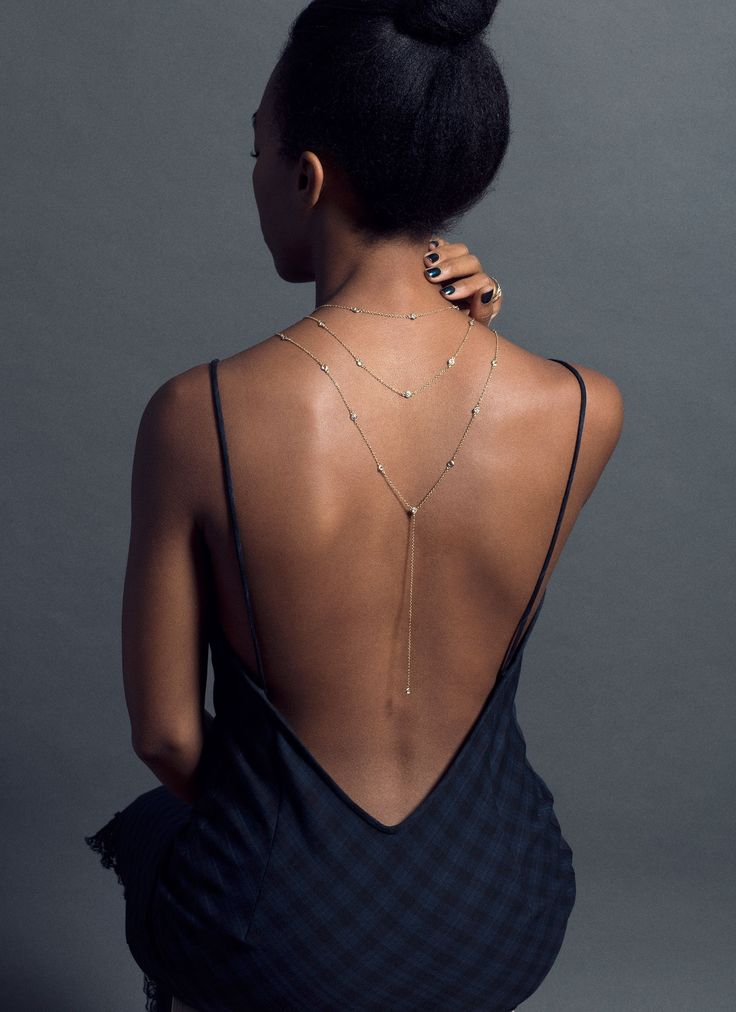 Open backs can be complimented and flattered by dropping jewellery - loving this backward necklace trend.