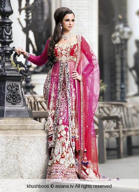 bright and colorful anarkali lehengha by khushboos