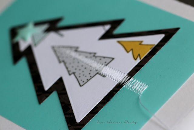 der kleine klecks Weihnachtskarte mit aufgenähtem Weihnachtsbaum, Novemberkit der Papierwerkstatt Großostheim, Crate Paper Snow and Cocoa