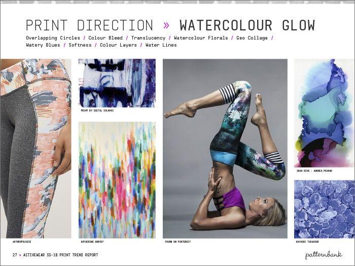 Activewear Print & Pattern Trend Report - Spring/Summer 2018 | Patternbank - Watercolour Glow