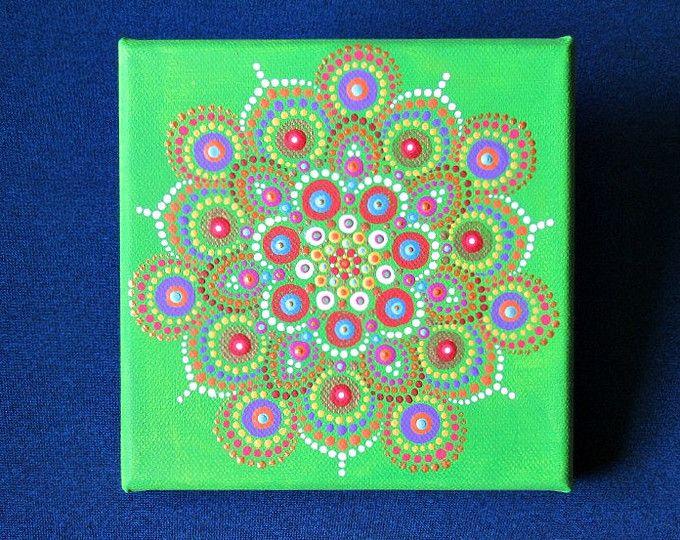 Pittura su tela, disegno della mandala, pittura del puntino verde viola mini, 6 x 6 pollici pronti ad appendere le opere d'arte, arte della parete boho, mano dipinta