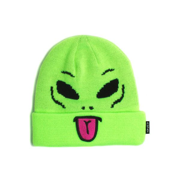 Alien Beanie RIPNDIP ($26) ❤ liked on Polyvore featuring accessories, hats, beanie, fillers, beanie cap, beanie cap hat and beanie hat