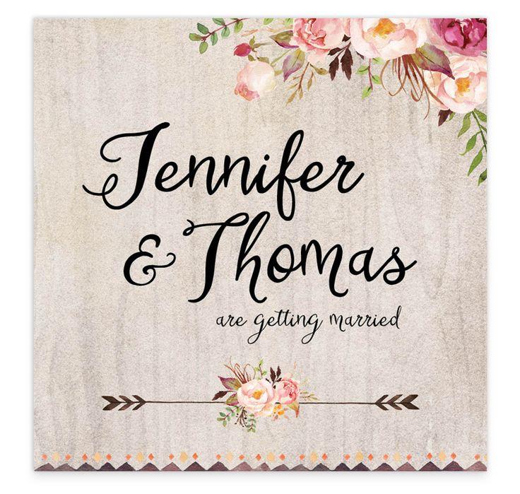 Flowering affection flat wedding invitation
