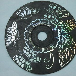 Turn you old  CDs into Art. Includes complete step by step picture instructions. Wouldn't it be beautiful painted in DARK colors on the sparkly side? Umm.....