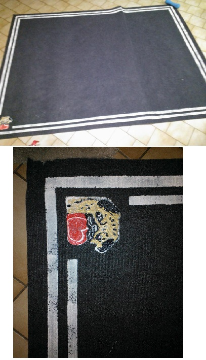 Plain indoor/outdoor 6ft x 8ft rug from Menards (on sale for 9.99) mix paint with fabric medium, line with painters tape to make straight lines, added a cute little pug in the one corner (My favorite part!)  Easy, cheap, and AWESOME!
