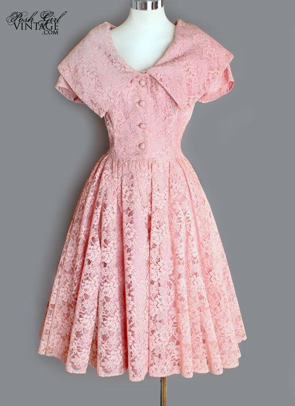 1950's Adorable Soft Rose Pink Lace Dress - M