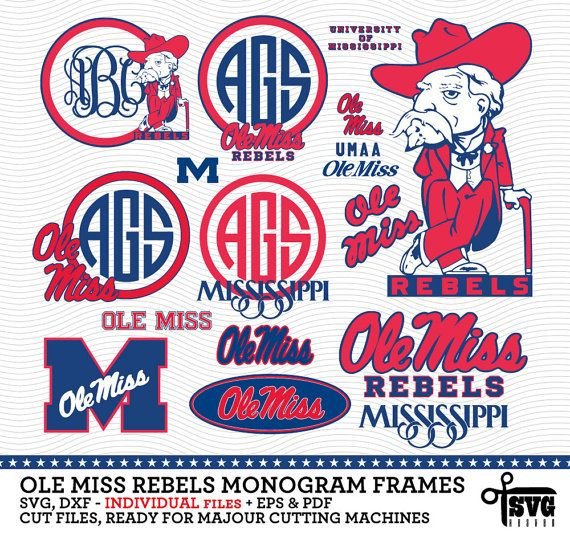 Ole Miss Rebels Monogram Frames. Vector Digital Cut Files. SVG, dxf, eps, pdf…