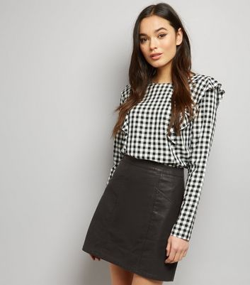 Black Leather-Look Seam Trim Mini Skirt