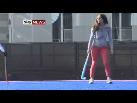 Kate plays hockey with Great Britain's Olympic field hockey team - and scores a goal!