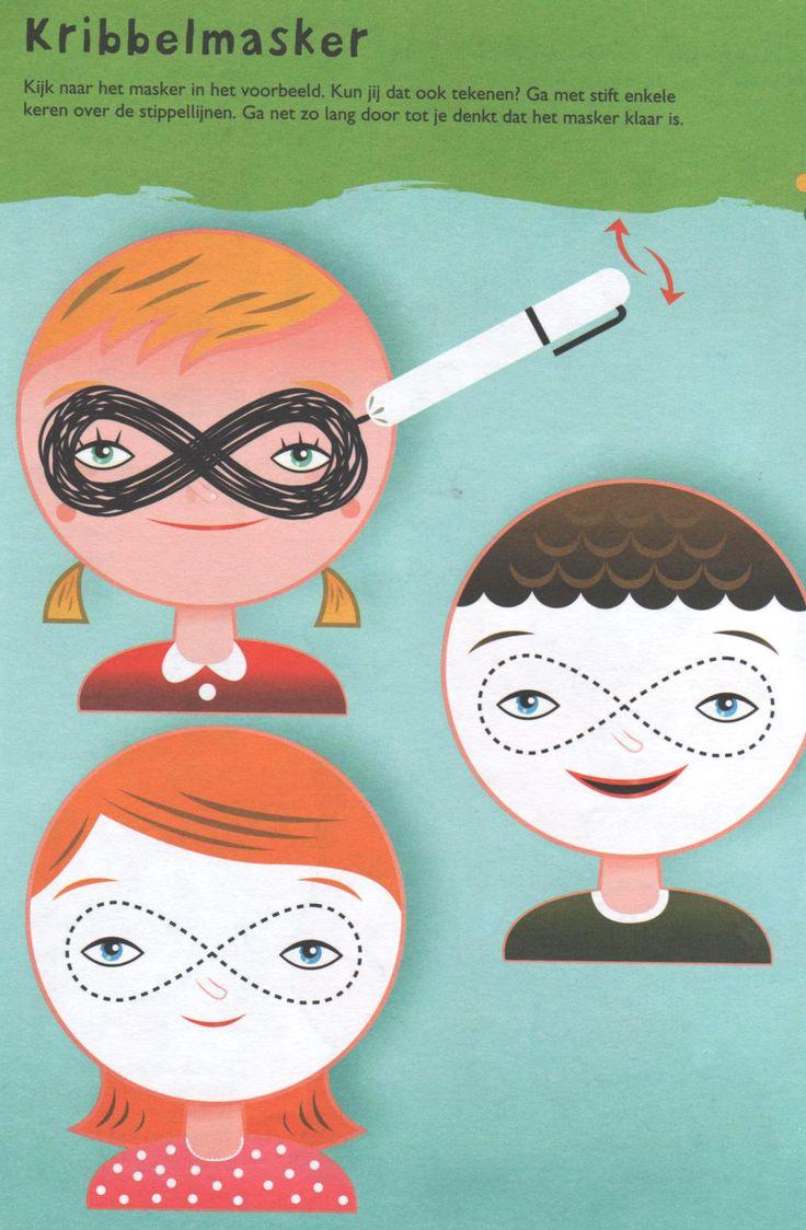 Werkblad: carnaval masker fijne motoriek schrijfpatronen