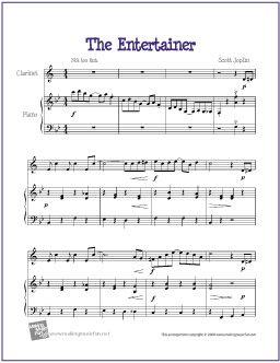 The Entertainer by Scott Joplin  for Easy Clarinet Solo - http://makingmusicfun.net/htm/f_printit_free_printable_sheet_music/the-entertainer-for-clarinet-solo.htm