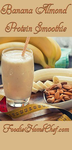 Banana Almond Protein Smoothie - Healthy, nutty, creamy & just plain delicious is the only way I can describe this #smoothie. It's a great way to start your day off right & the kids will love it just as much as you will! --------- #Food #Cooking #Recipes #Recipe #Cuisine #GreatFood #HomeCooking #Smoothies #SmoothieRecipes #PowerSmoothie #BananaAlmondSmoothie #BananaSmoothie #ProteinSmoothie #Beverages #Vegetarian #VegetarianRecipes #Vegan #VeganRecipes #Fruit #HealthyRecipes