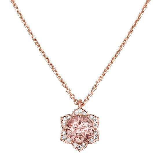 http://rubies.work/0571-emerald-rings/ Rose Gold Morganite Necklace Vintage Flower by SillyShinyDiamonds