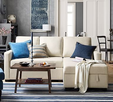 SoMa Bryant Upholstered Sofa with While reading a post from #theinspiredroom, I came across this sofa. Simply brilliant storage under the chaise portion!  Storage Chaise Sectional #potterybarn
