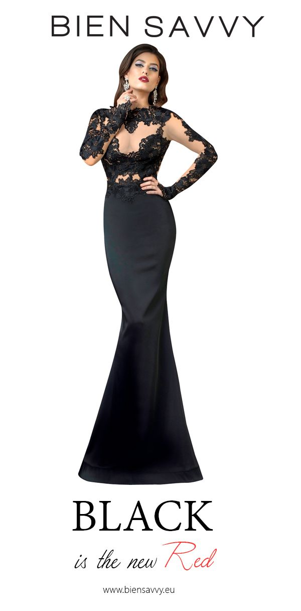 Black is the new Red.  Follow His Eyes, black lace and satin evening dress by BIEN SAVVY