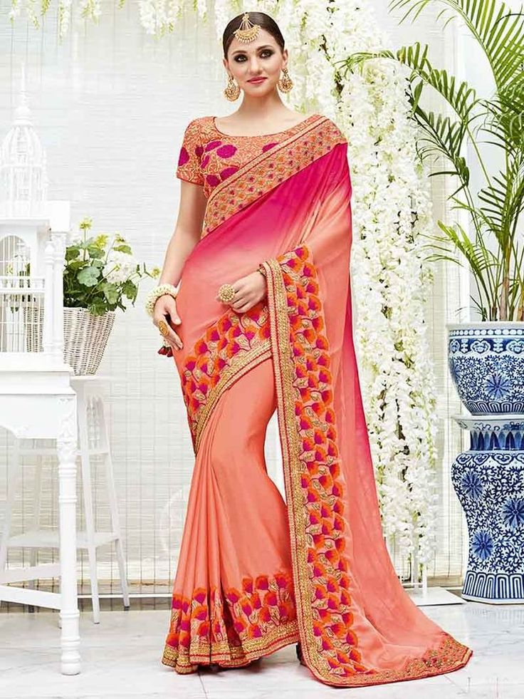new party wear elegent two one chiffon saree with sheading exclusive embro with  | eBay