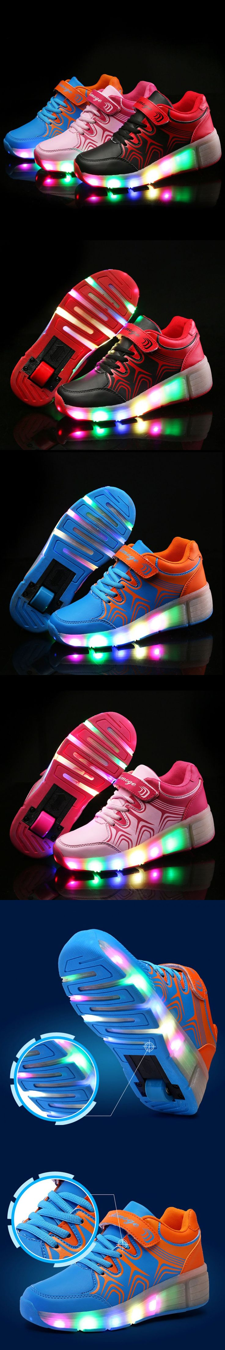 Children wheely Shoes with Led Lights Kids Roller Shoes With Wheels Wear-resistant for girls boys Sneakers Zapatillas Con Ruedas $45.62
