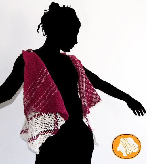 Fuchsia and white flecked woolen wrap vest