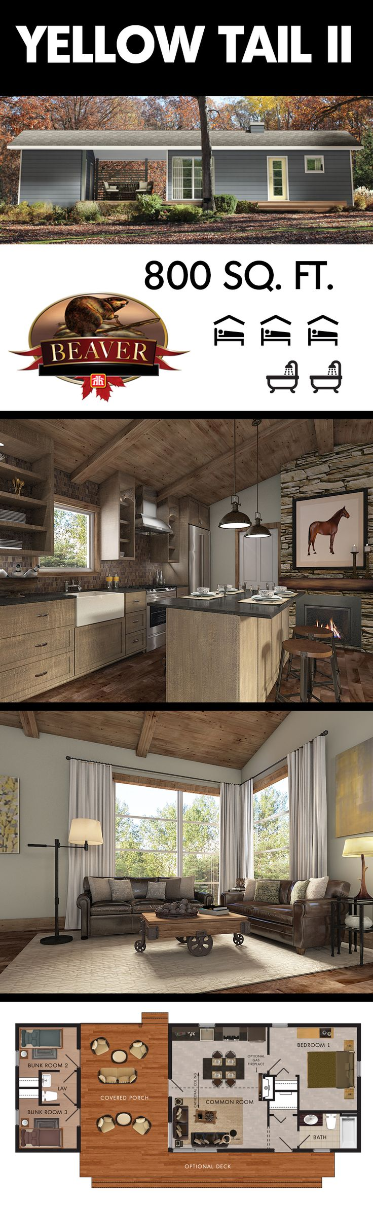 The Yellow Tail II model is a compact, starter #cottage that features an open concept design that can be easily expanded. #BeaverHomesAndCottages