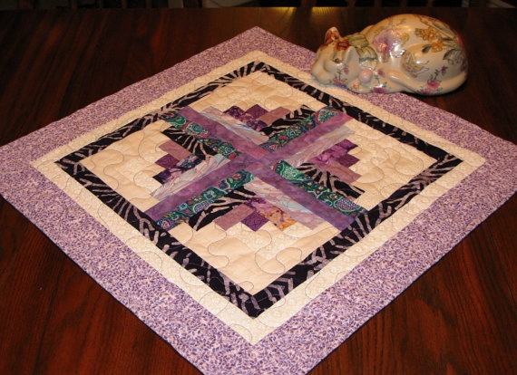 LOG CABIN Quilted Table Topper Candle Mat by DollPatchworks, $32.00