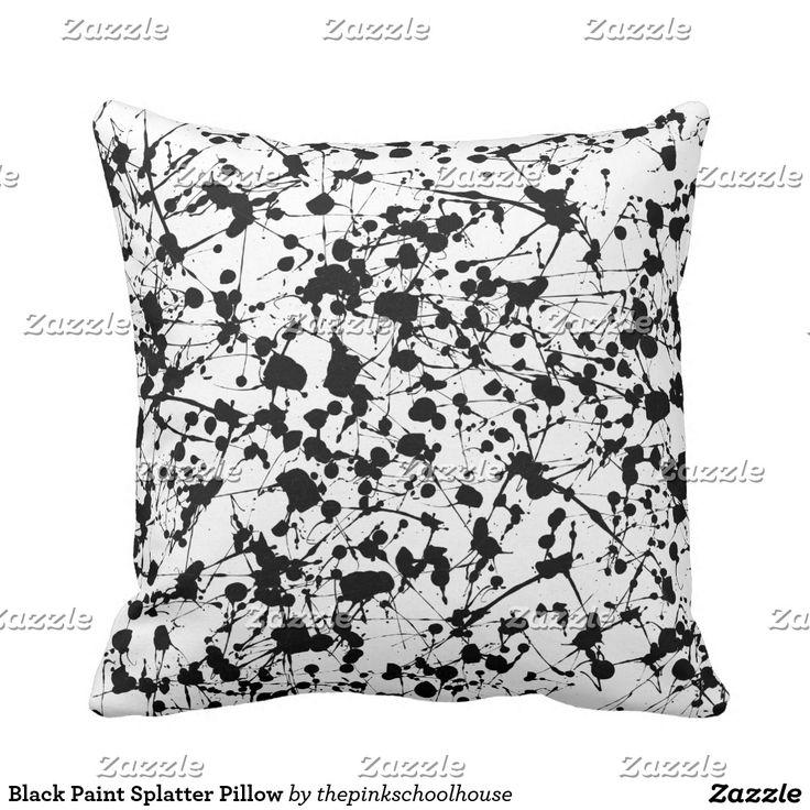 Black Paint Splatter Pillow