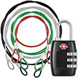 4 Pack Stainless Steel Safety Tether with 3-Dial Combination TSA Approved Lock DanziX Plastic Coated Colorful Lanyard Security Cable for Travel Luggage Bags- Silver Black Green Red