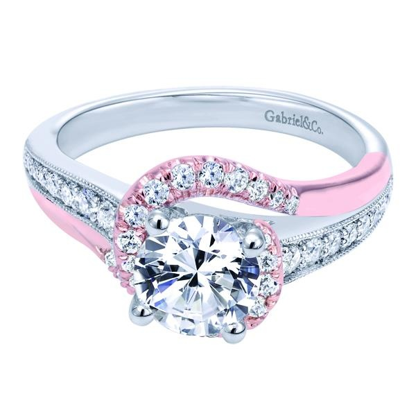 A 14k white pink gold victorian bypass engagement ring for Wedding rings with pink