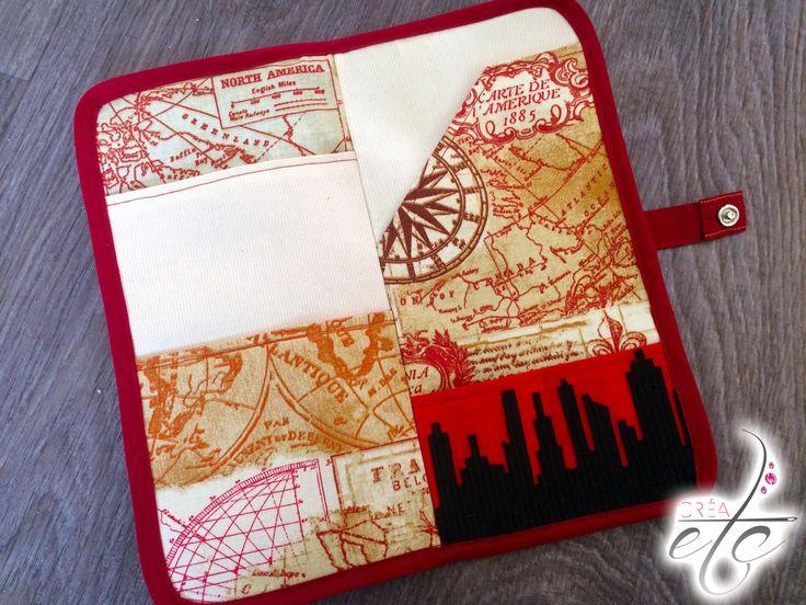 Voici le tuto couture pour confectionner la Pochette du voyageur de CRÉAetc, la pochette pour garder précieusement passeport et billets d'avion.