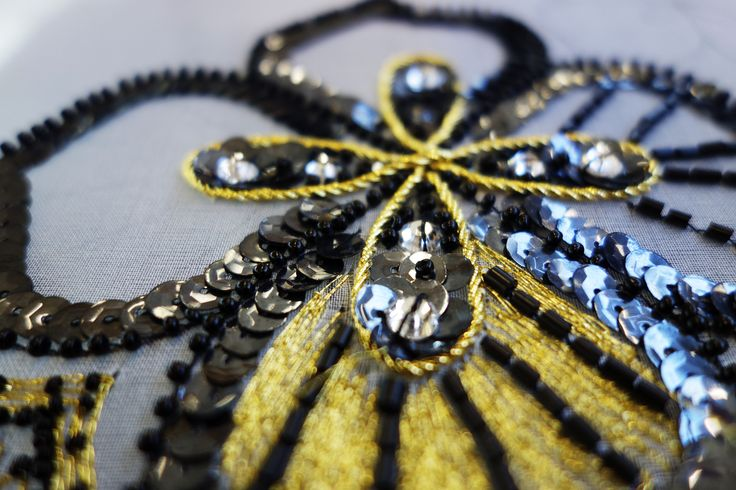 Haute Couture Embroidery piece made by Christine Ritter using the Crochet de Luneville.  Work in Progress!