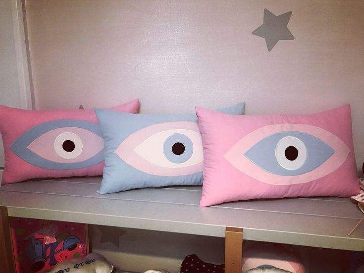 new colours ! evileye pillows handmade by cottonprince.gr