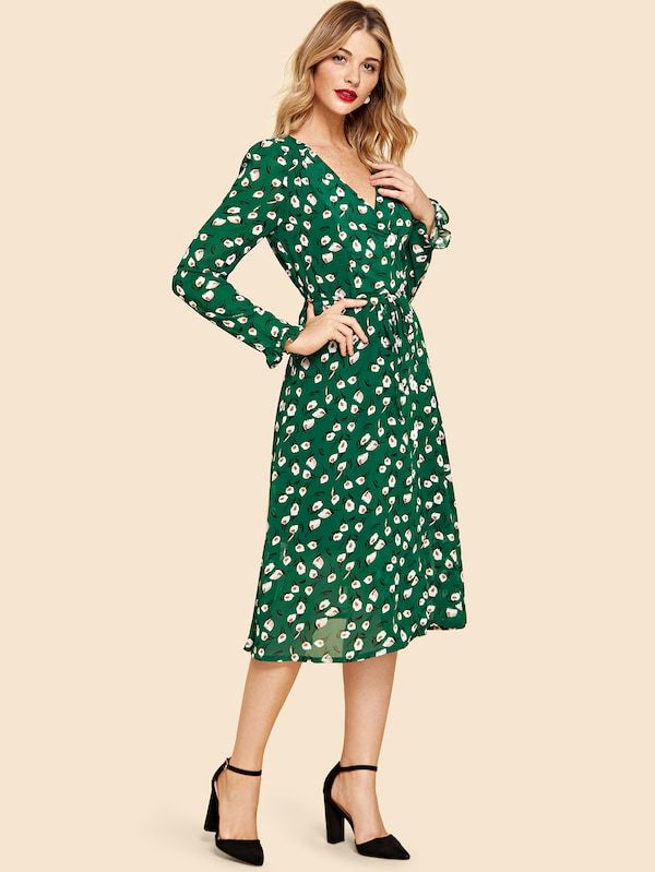 ebe02db6bd V Neck Floral Print Dress -SheIn(Sheinside) | D R E S S in 2018 ...