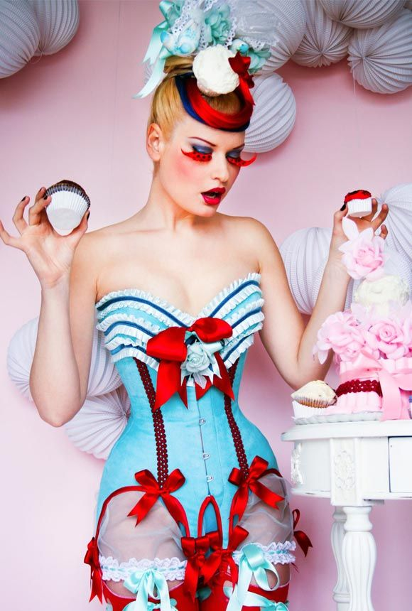 Cherry Blue Cupcake Corset
